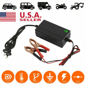 12v Portable Auto Car Battery Charger Trickle Maintainer Boat Motorcycle Usa