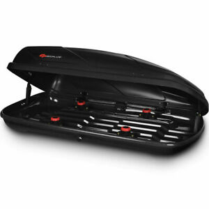 14 Cubic Feet Cargo Box Dual sided Opening Car Suv Roof Rack Mount Carrier Black