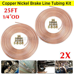2x Copper Brake Line Tubing Kit 1 4 Od 25 Ft Coil Roll Universal Fit 32x Nuts