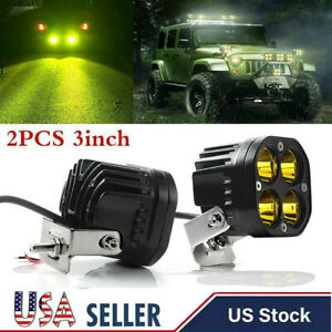 2x 3inch 40w Led Work Light Bar Yellow Spot Pods Driving Offroad Fog 4wd Suv Us
