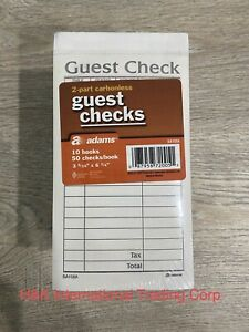 Adams 2 part Carbonless Guest Check 50 Checks book 10 Books