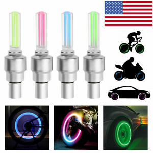 4 Pcs Valve Stem Led Cap For Bike Bicycle Car Motorcycle Wheel Tire Light Lamp