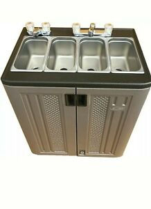 Portable Sink Mobile Concession Compartment Hot Rm Temp Water 4 Compartment