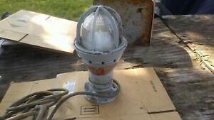 Vintage Crouse Hinds Explosion Proof Flush Mount Light With Cord