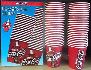 Beverage Cups Coca Cola Box Of 50 Cups Carton New Diner Collection