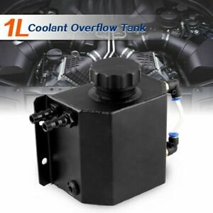 1l Black Aluminum Radiator Coolant Overflow Bottle Recovery Water Tank Universal