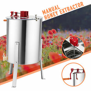 4 8 Frame Manual Honey Extractor Beekeeping Equipment W stand 24 Drum Honeycomb