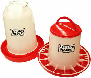 Combo X large Rite Farm Products 4 Gal 20 Lb Waterer Feeder Chicken Poultry