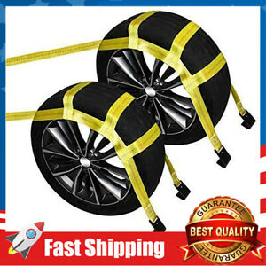 2 Pack Car Wheel Straps Universal Vehicle Tow Dolly Straps System 15 19 Tires