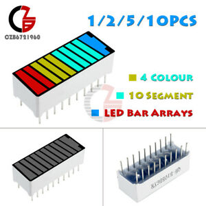 1 2 5 10pcs 4 Color 10 Segment Led Battery Bar Graph Light Display Indicator New