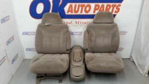 1996 Gmc Chevy 1500 Truck Front Bucket Seat Set Tan Cloth With Center Console
