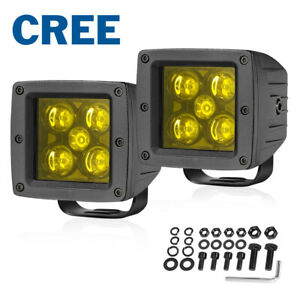 2x 3 Cree 3000k Led Work Light Bar Cube Pods Combo Driving Fog Off Road 4wd