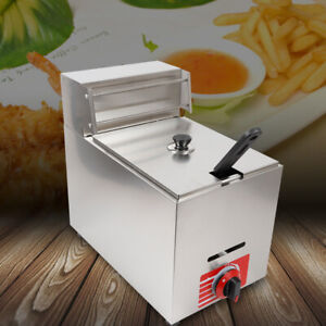 10l Commercial Propane Heating Deep Fryer Countertop Gas Fry Pot Stainless Steel