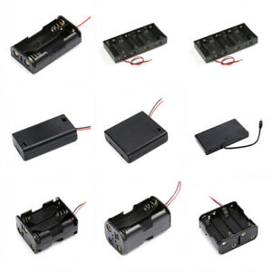 Various Battery Holder Case Box 1 2 3 4 5 6 8 10 X Aa With Switch dc Plug wire