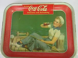 AUTHENTIC COKE COCA COLA 1940  ADVERTISING SERVING TIN TRAY  M-232