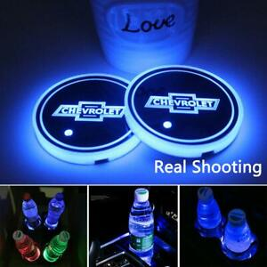 2pcs Led Car Cup Holder Pad Mat For Chevrolet Auto Atmosphere Lights Colorful
