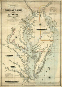 Map Of Chart Of Chesapeake And Delaware Bays C1862 24x33