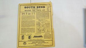 Vintage South Bend Lathe Machine Tool Parts List Package And Catalog