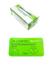 4 0 Training Surgical Sutures Nylon Monofilament With Needle 12 Pack Sterile