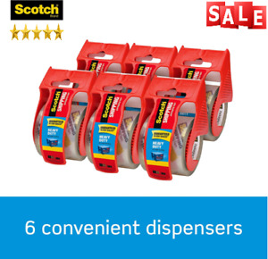 Scotch Strong Packaging Tape With Dispenser For Packing Moving Shipping 6 Pack