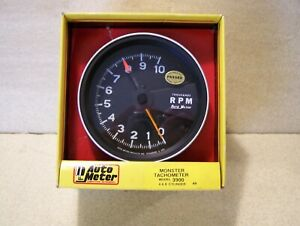Brand New Never Out Of Box 70 s 80 s Autometer 3900 0 10 000 Monster Tachometer