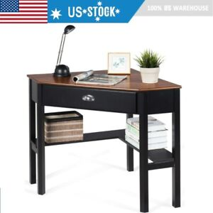 Corner Computer Desk Wooden Laptop Pc Table Small Compact With Drawer Shelves