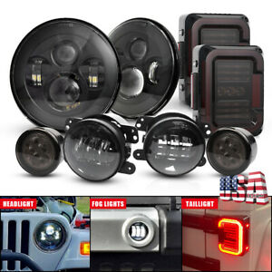 8pc For Jeep Jk 07 18 Tail Light 7 Led Headlight Turn Signal Fog Lamp Combo Set