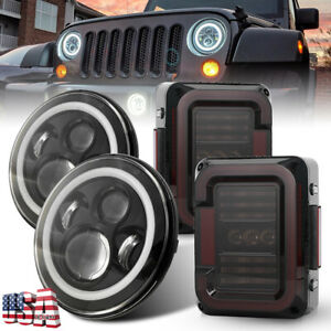 Newest Led Tail Lights 7 Headlights Angel Eyes Combo For Jeep Wrangler Jk 07 18