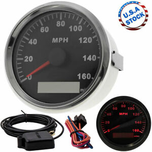 85mm Black Gps Speedometer Gauge 0 160mph For Car Boat Motorcycle Atv Us Stock