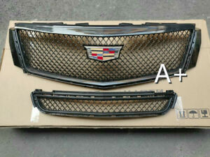 For Cadillac Xts 2013 2017 Radiator Front Bumper Upper Lower Grilles Black
