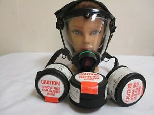 Scott o vista Never Use complete full Face Gas Mask respirator With 3 filters