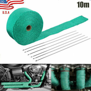 2 32 8ft Roll Fiberglass Exhaust Header Pipe Heat Wrap Tape Green 6 Ties Green