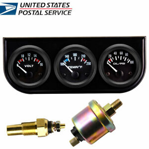 3 In 1 Car Auto Triple Gauge Kit Volt Meter Water Temp Oil Pressure Meter Us