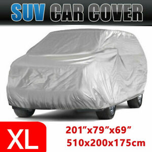 Suv Full Car Cover Xl Polyester Uv Resistant Snow Dust Sun Waterproof Silver New
