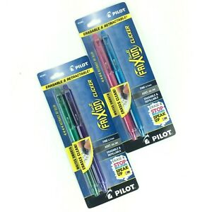 Pilot Frixion Ball Fine 0 7mm Pen Gel Ink Erasable retractable Assorted 2 Packs