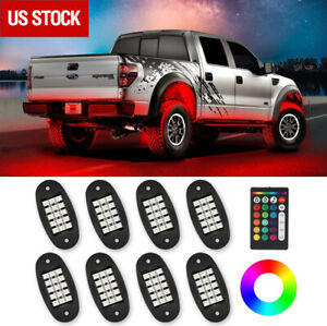 8x Pods RGB LED Rock Lights Wireless Control Music Chasing For Offroad ATV 12V