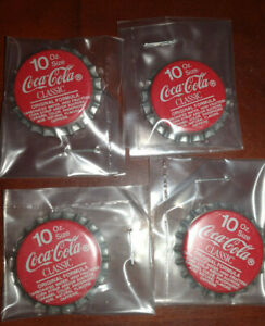 Vintage Lot of 4 COCA COLA Bottle Caps ( Kept in Sleeve Covers) Mint