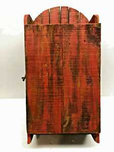 17 Old Red Paint Primitive Wood Wall Hanging Folk Art Kitchen Cabinet Cupboard