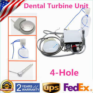 Portable Dental Air Turbine Unit Work Compressor 4h Triplex Syringe Water Bottle
