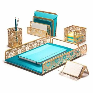 Hudstill Gold Cute Desk Organizer Set For Women And Girls In Pretty Design