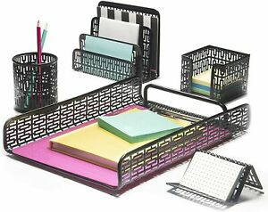 Hudstill Black Desk Organizer 5 Piece Set For Women In Art Deco Design