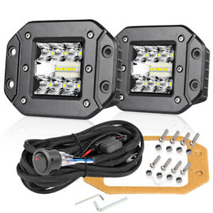 5 Flush Mount Led Lights Combo Work Bar Pods Driving Off Road Wiring Kit 12v