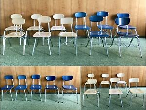 Vtg Childrens School Chairs Blue Beige Chrome Metal Melsur Virco Mcm Chair Lot
