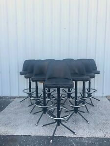 Set Of 10 Mid Century Modern Black Vinyl Bar Stools