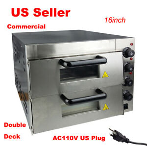 New 110v 16 Commercial Double Deck Electric Pizza Oven Ceramic Stone