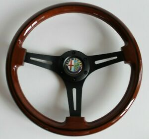Steering Wheel Alfa Romeo Vintage Wood Black Classic No Hub Adapter Nardi Style