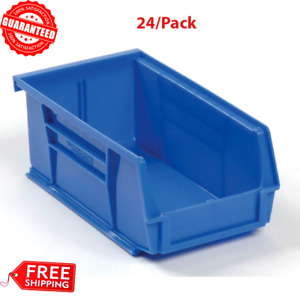 24 pack Blue Plastic Stacking Hanging Bin Small Parts Storage Organizer Bins