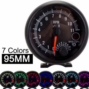 3 75 Inch 95mm Tachometer Car Gauge 0 11000 Rp For Boat Motorcycle 7 Led Colors