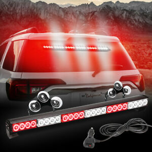 27 24 Led Emergency Light Bar Strobe Lights Red Traffic Advisor Suction Cups