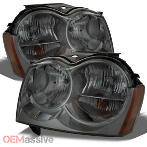 Fit 05 07 Jeep Grand Cherokee Smoked Headlights Replacement 2005 2007 Left right